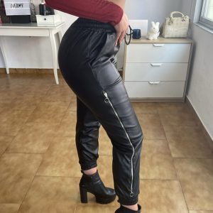 Pantalones Cuero Cremallera